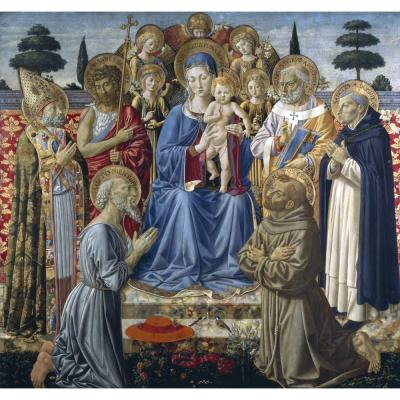 Benozzo Gozzoli – Virgin and Child Enthroned with Angels and Saints