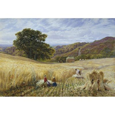 George Vicat Cole – Harvest Time near Holmbury Hill, Surrey