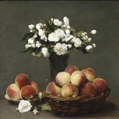 Henri Fantin-Latour – Climbing Roses and Peaches