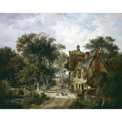 John Berney Ladbrooke – An Inn and Cottage with Children Playing