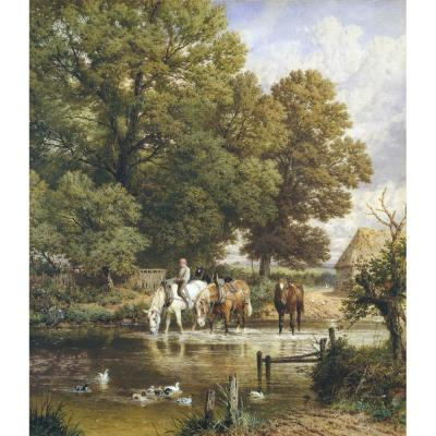 Myles Birket Foster – Fording the Stream