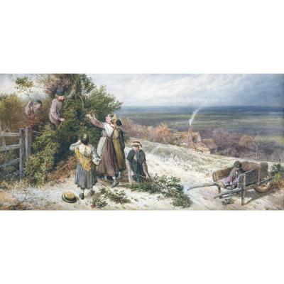 Myles Birket Foster – Children Gathering Holly in the Snow