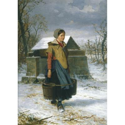 Louis Lasalle – Carrying Water in a Winter Landscape