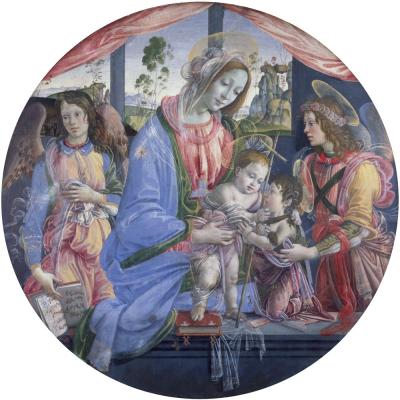 Raffaellino del Garbo – Virgin and Child with the Child Baptist and Two Angels
