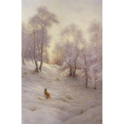 Joseph Farqrharson – The Setting Sun Lights Up the Snow with Rosy Hue
