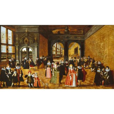 Louis de Caullery – A Palace Interior with Ladies and Gentlemen Dancing and Playing Music