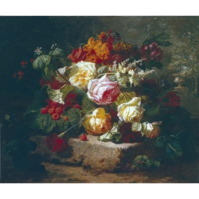 Jean Baptiste Robie – Still Life with Roses and Raspberries