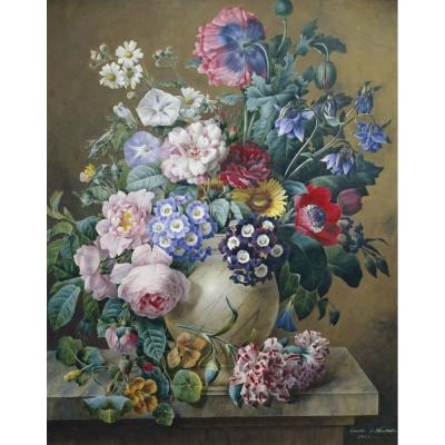Camille de Chantereine – Vase of Flowers on a Marble Table