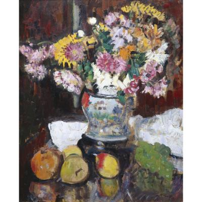 George Leslie Hunter – Chrysanthemums in a Chinese Vase