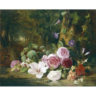 Jean Baptiste Robie – Still Life of Flowers by a Woodland Stream