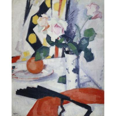 Samuel John Peploe – Roses and Red Cloth with Black Fan