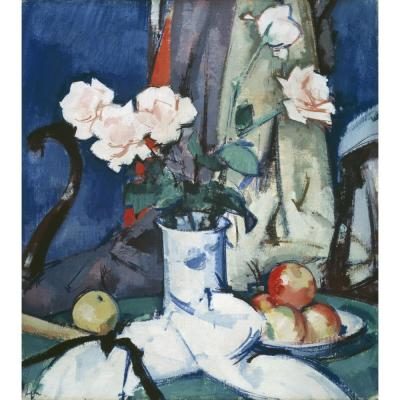 Samuel John Peploe – Still Life with Apples and Pink Roses
