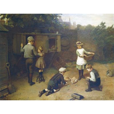 Harry Brooker – Children Feeding Rabbits