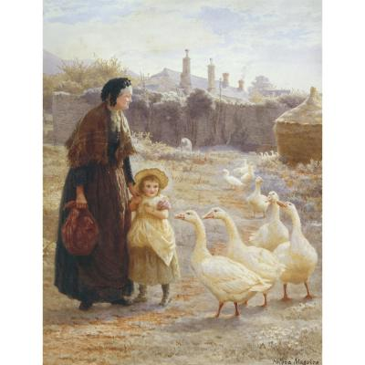 Helena Maguire – Grandmother and Little Girl with Geese